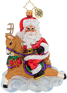 Christopher Radko Hand-Crafted European Glass Christmas Decorative Figural Ornament, Dashing Donner Ride!