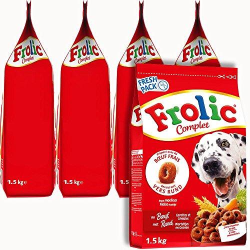 FROLIC Croquettes Complètes au Bœuf pour Chien Adulte, 5 Sacs de 1,5kg