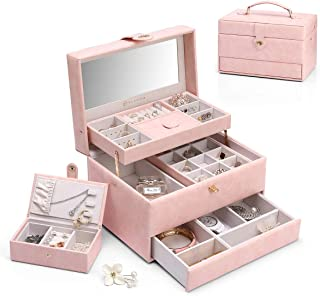 Vlando Flora 3-Layer One-Handed Jewelry Box,with Portable Travel Jewelry Organizer and Removable Necklaces Hooks, Watch Cu...