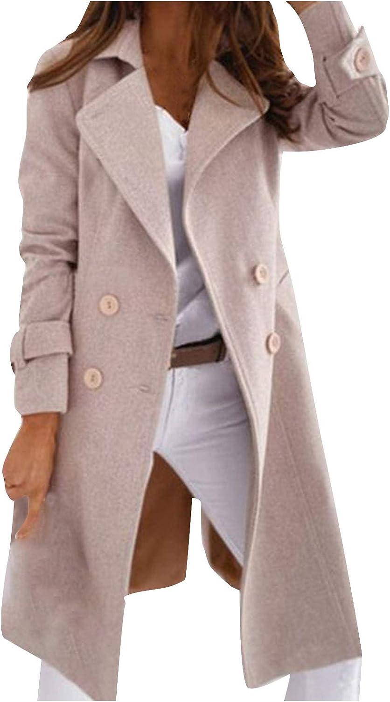 Hemlock Women Double Breasted Wool Coat Lapel Long Trench Jacket Winter Coats Slim Woolen Jacket Long Outwear