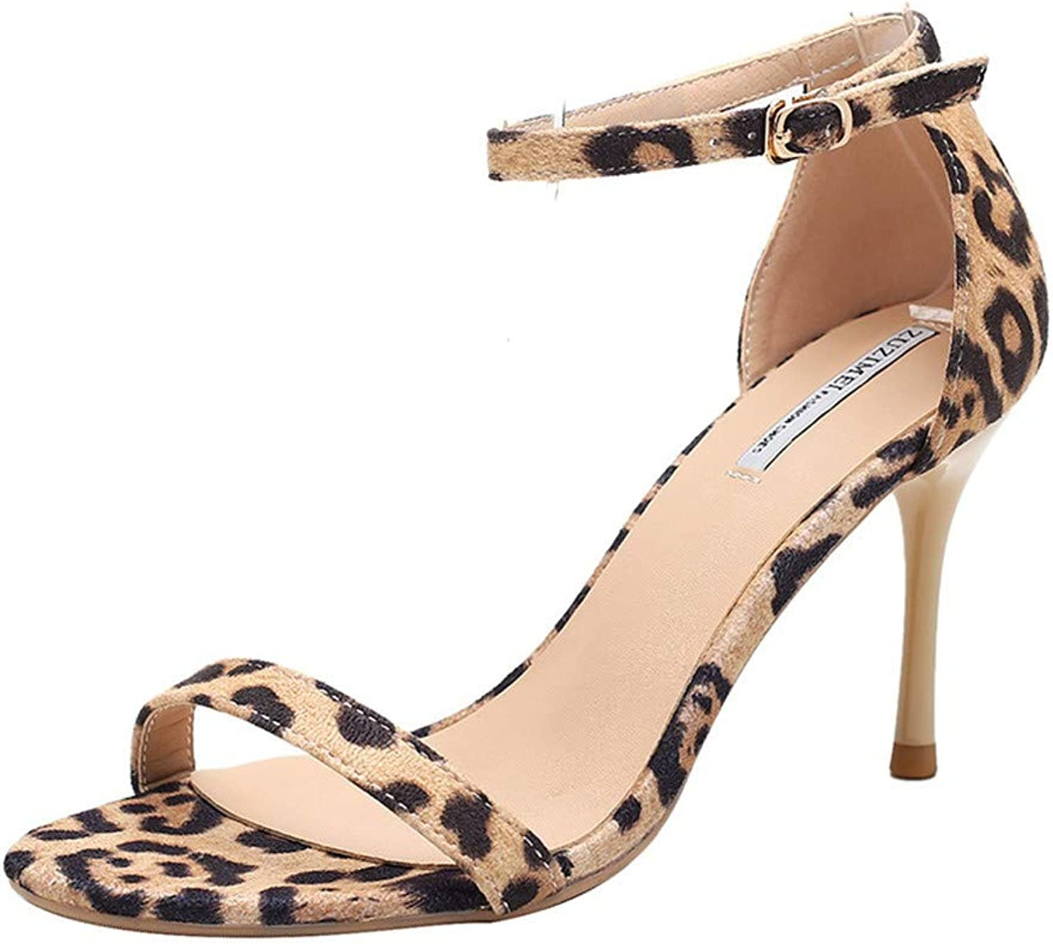 Top Shishang Apricot high Heel Sandals Female Stiletto Open Toe Summer high Heels Leopard Print Buckle