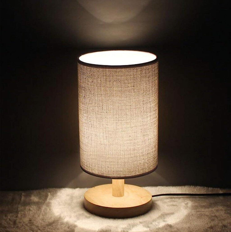 JINQD Home Tischleuchte Tischlampe, Einfache Stillen Schlafzimmer Nachttischlampe Massivholz Einstellbare Licht Kreative Nachtlicht (Farbe   Power Switch Button)
