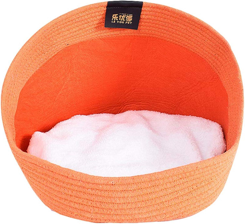 QJKai Autumn and Winter Warm cat Bed Cotton Rope pet Weaving nest pet nest pet Supplies