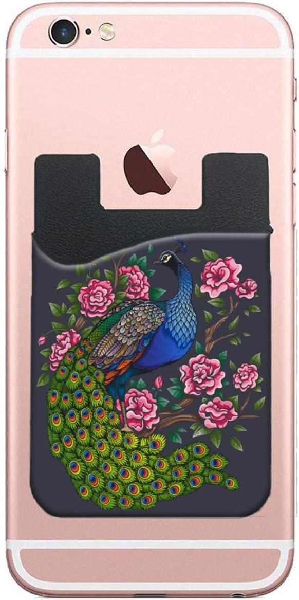 ZXZNC Card Holder for Back of Pink Vintage Fl Philadelphia Mall Peacock Rose Phone sale