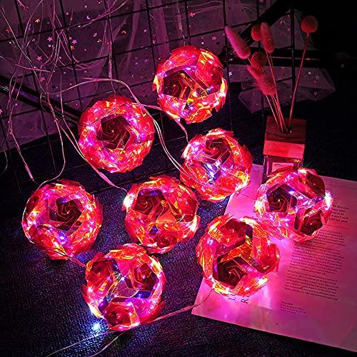 Cadena de luces LED Luces de hadas en interiores, luces de cadena de bolas de rosas Luces de hadas de globo para cortina de dormitorio, fiesta, boda, decoración navideña (5cm-16 strings,Rose red)