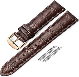 iStrap Bracelet de Montre en Cuir - Bracelet de Remplacement en Cuir de Veau grainé d'alligator - Bracelet à Boucle en Aci...