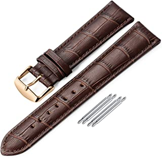 Genuine Calf Leather Watch Band Alligator Grain Padded for Men Women Color & Width (18mm,19mm, 20mm,21mm,22mm or 24mm) Gold Silver