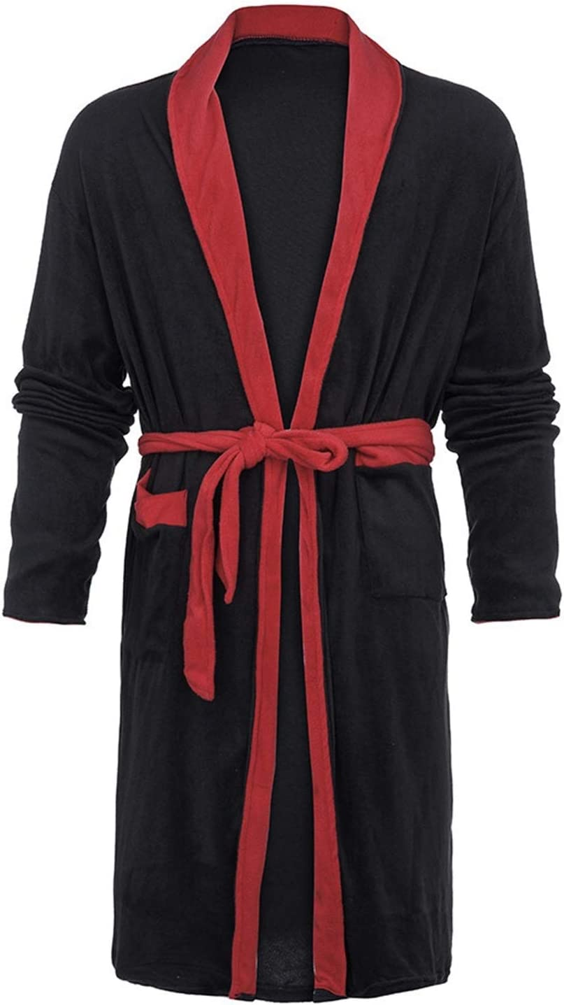 A-YSJ Bathrobes Men's Winter Plush Plush Shawl Bathrobe Home Wear Long-Sleeved Robe Coat Pajamas Bathrobe (Color : Black, Size : Large)