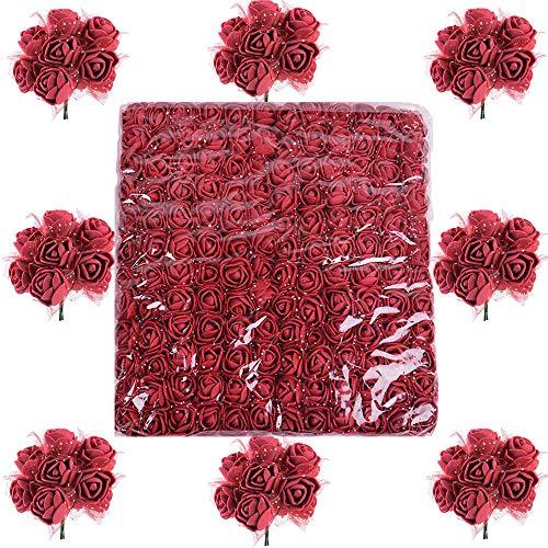 288pcs Mini Rosas Flores Ramos de Rosas Artificiales con Tul en Espuma para Manualidades Decoración Boda Hogar Decoración Ramo Flores Artificiales Fiesta Coche casa DIY Guirnalda Flores de Novia
