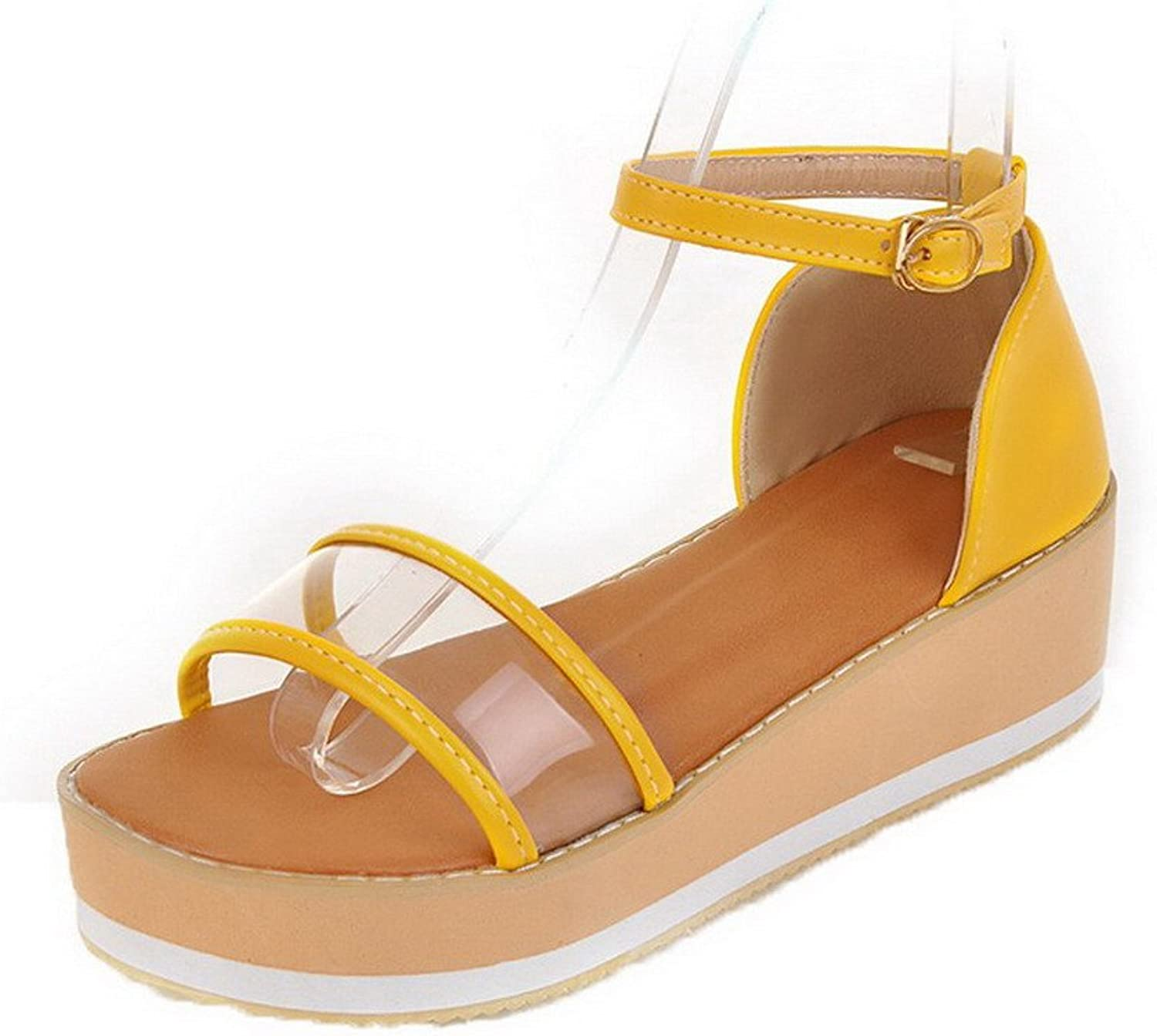 WeenFashion Women's Buckle Open-Toe PU Kitten-Heels Solid Sandals, AMGLX008330