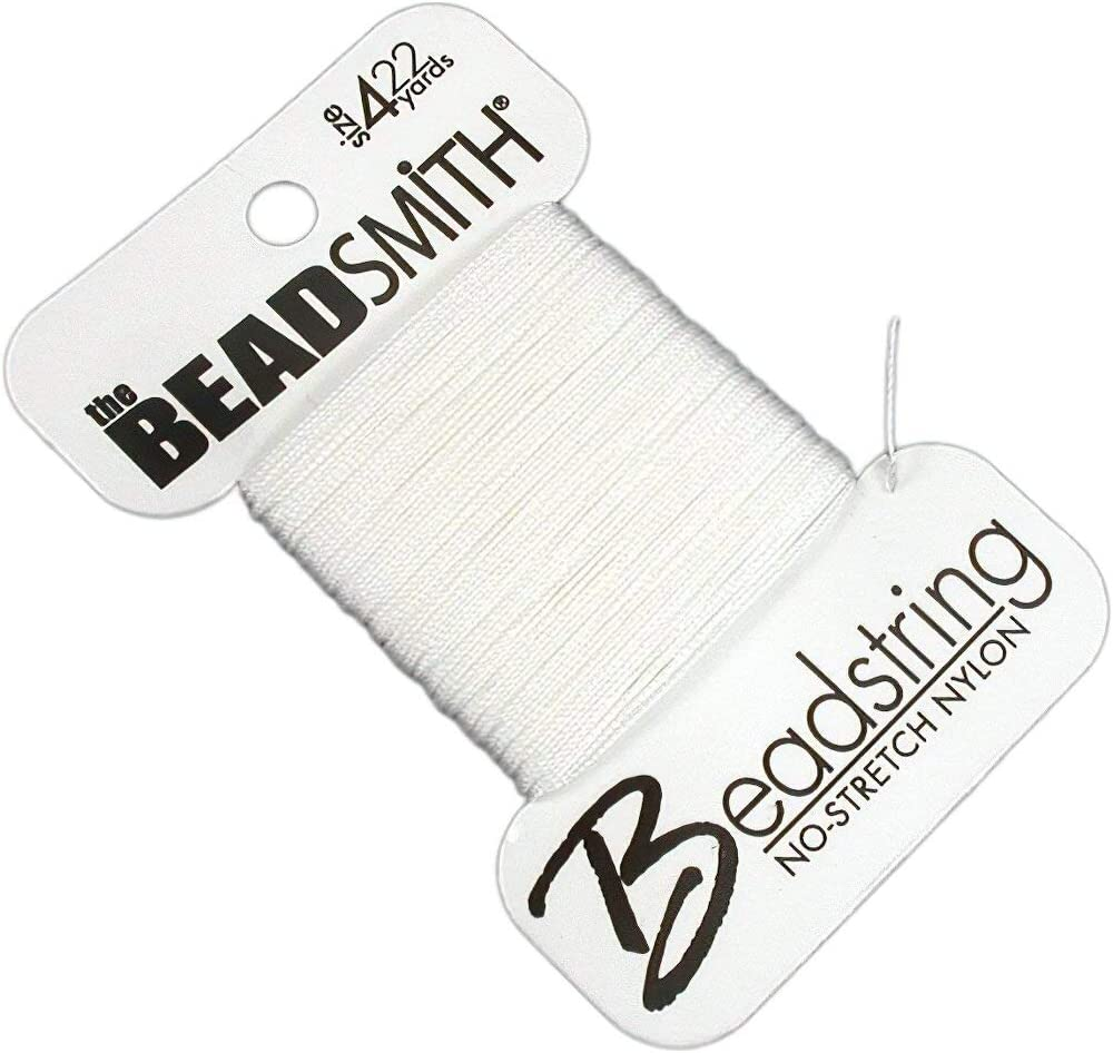 White 2021 new Beadsmith free Nylon Beading Thread Cord 22yds Sz 4
