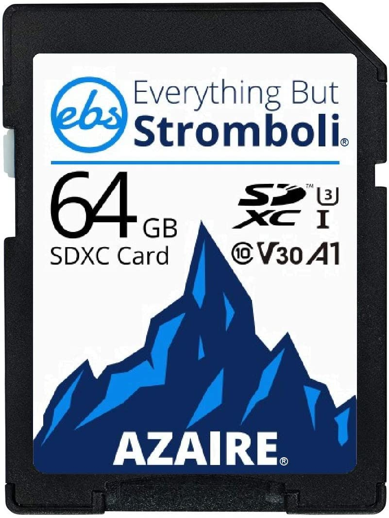 Everything But Stromboli 64GB Azaire SD Card Class 10 UHS-1 U3 Speed C10 V30 64G SDXC Memory Card for Canon Camera Works with EOS M50, EOS R5, EOS R, RP, R6, M6 Mark II, EOS M3, M100, M200 Mirrorless