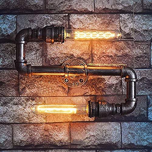 Aplique de pared, vintage, doble cabezal, tubo de agua, luz de pared, interior, retro, industrial, lámpara de pared, E27, aplique de pared de metal, lámpara Steampunk, decoración para pasillo, pasill