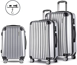 Wanderlite 3 Pcs Luggage Suitcase Set with Dual Wheels and Sacle, Silver