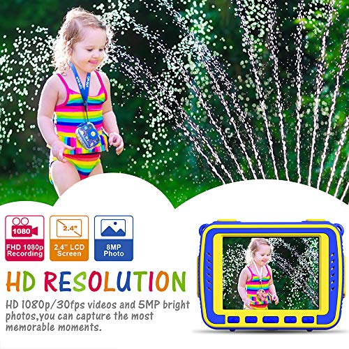 Ourlife Kids Camera, Selfie Waterproof Action Child Cameras,1080P 8MP 2.4 Inch Large Screen with 8GB SD Card for Children Toddler of Age 3,4,5,6+, Silicone Handle, Fill Light, 2019 Upgraded(Navy-Blue)