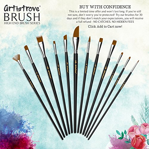 Paint Brush (Set of 12) - Premium Nylon Brushes for Watercolor, Acrylic & Oil Painting   Perfect For Painting Canvas, Ceramic, Clay, Wood & Models - Let Artistrove Brushes Bring Your Painting to Life! Photo #6