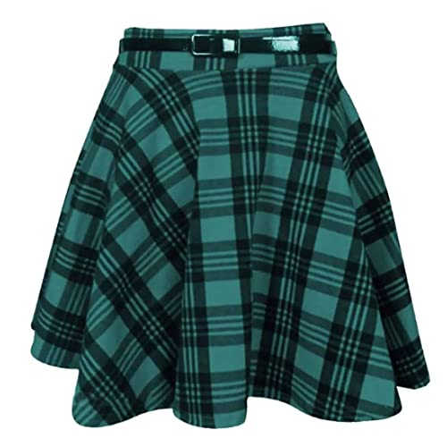 b2f56e6d2 Womens New Tartan Check Printed Ladies Short Mini Slim Detachable Waist  Belted Flared Pleated Skater Red