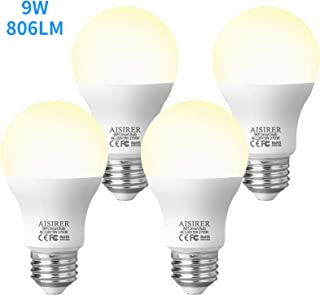 AISIRER Smart Light Bulb LED WiFi Bulbs 9 Watts 806 Lumens Compatible with Amazon Alexa Echo, Google Home Assistant and IFTTT Dimmable Warm Light 2700K, 2.4 Ghz Only No Hub Required, 4 Packs E26 A19