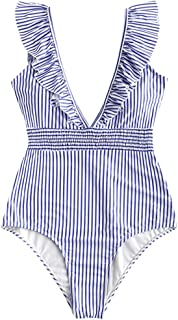 ZAFUL Women's Deep V-Neck Ruffle Striped Shirred One-Piece Monokini Swimsuit