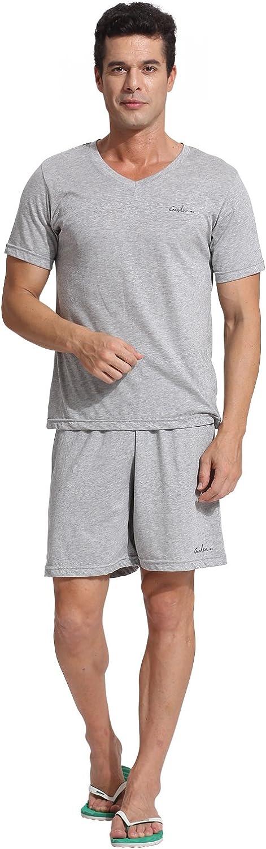 Godsen Men's Casual Wear Cotton Short Pajama Set Tshirt Pants