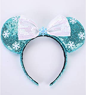 Cute Color Mouse Ears Headband Rose Gold Sequined Hair Accessories Bowknot for Womens Girls Birthday Party Cosplay