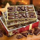 Weihnachtsgebäck Schatzmischung - 1,2 kg mit Dessert-Dominos, Nuss-Saft-Printen, Nuss-Spitzkuchen, Dessert-Spitzkuchen, Saft-Printen mit Zartbitter und Honig-Saftprinten mit Vollmich-Schokolade. 3 Lagen a 400g