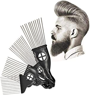 Metal Afro Pick Comb for Men & Women, Hamkaw Cool Hair Pick with Fist, Stainless Steel Teasing Comb Wide Tooth Comb - Anti-Static Brush Detangle Wib Braid Hair Styling Comb