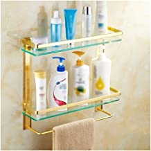 Bathroom Shelf Bath Shower Storage Drilling Tempered Glass with Wall Mounted Aluminum Packing with Screws 16~24 Inch 1204...