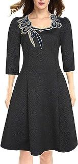 YACUN 女性のカクテルドレスの刺繍の帰省スイングドレス