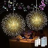 2 Pack Firework String Lights 120 LED Copper Wire Firework Lights DIY Dandelion Hanging Starburst Light Music Control 12 Modes Waterproof Wire Light for Christmas, Home, Indoor Outdoor Decoration