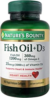 Nature's Bounty Fish Oil + D3 1200 mg Softgels 90 ea (Pack of 2)