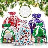 Flovesky 30 Sacs Cadeau de Noël avec Cordons,Taille Emballage Cadeau Cadeaux Assortis Styles Sacs Cadeaux de Noël pour la Fête de Noël, Cadeaux, Décorations de Vacances