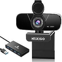 1080P Webcam with with 2ft 4-Port USB 3.0 Hub, Microphone & Privacy Cover, NexiGo 90-Degree Wide Angle Web Camera for PC/M...