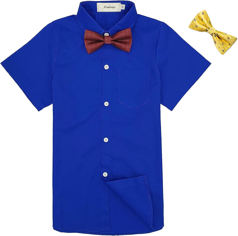 Aimehonpe Boys Button Down Dress Shirt Short Sleeve Bow Tie Set Cotton Solid Uniform