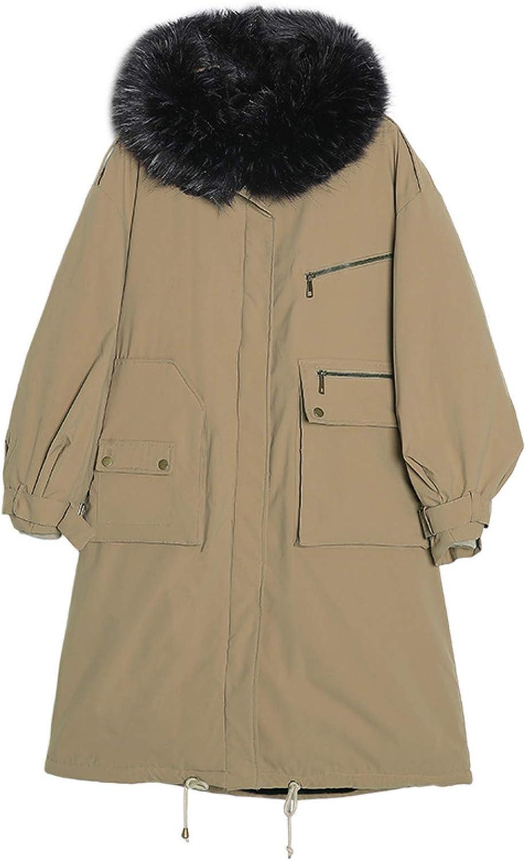 Women's Long Cotton Padded Down Jacket, Ultra Light Faux Fur Trim Hood Winter Coat with Pocket