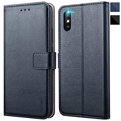 Ganbary Handyhülle für Xiaomi Redmi 9A Hülle, Premium Leder Tasche Flipcase [Kartenschlitzen] [Magnetverschluss] [Standfunktion] kompatibel mit Redmi 9A Schutzhülle, Blau