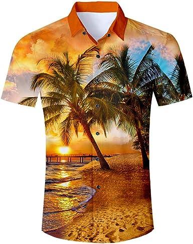 Camisa Hombre Manga Corta Palmeras Camisas 3D Camisa Hawaiana ...