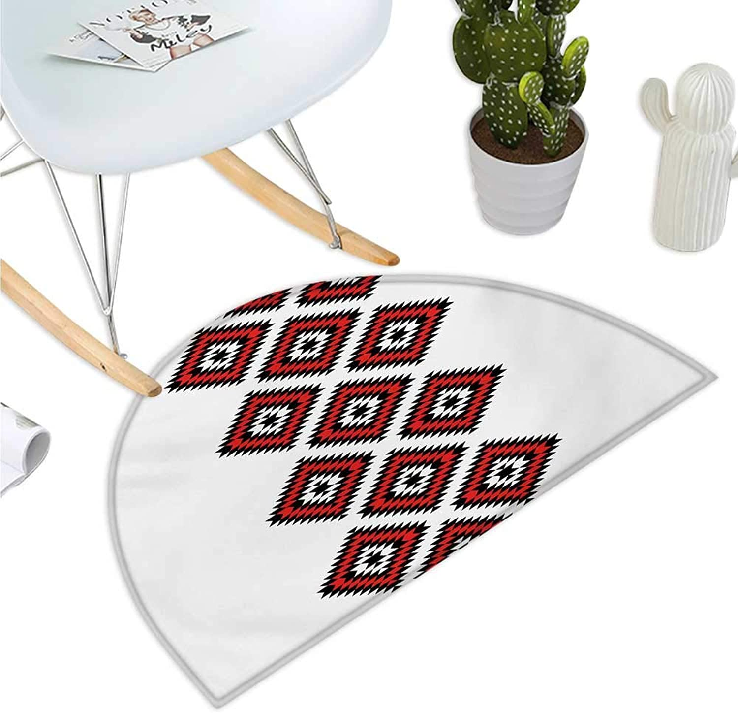 Tribal Half Round Door mats Native American Style Zig Zag Aztec Motif with Embroidery Ornaments Image Bathroom Mat H 39.3  xD 59  Vermilion White