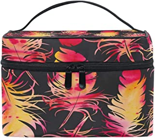 Oil Painting Feather Women Travel Makeup Bag Portable Cosmetic Train Case Toiletry Bag Beauty Organizer