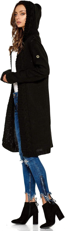 Lemoniade hochwertiger, modischer Cardigan mit Kapuze Knielang - Strickjacke Damen Jacke lang Mantel Strickmantel Schwarz (213)
