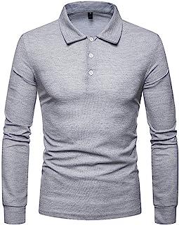 BEIXUNDIANZI Polo da Uomo Manica Lunga Basic Golf Casual T-Shirt con Bottoni Stile Classico Polo Pullover Maglione T-Shirt...