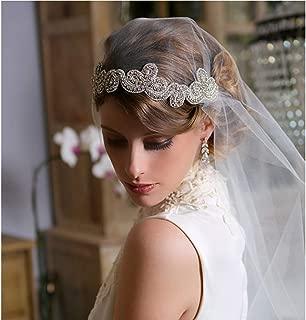 Brishow Bride Wedding Headband Handmade Silver Rhinestone Crystal Bridal Headpiece with Satin Ribbon Accessories for Women and Girls