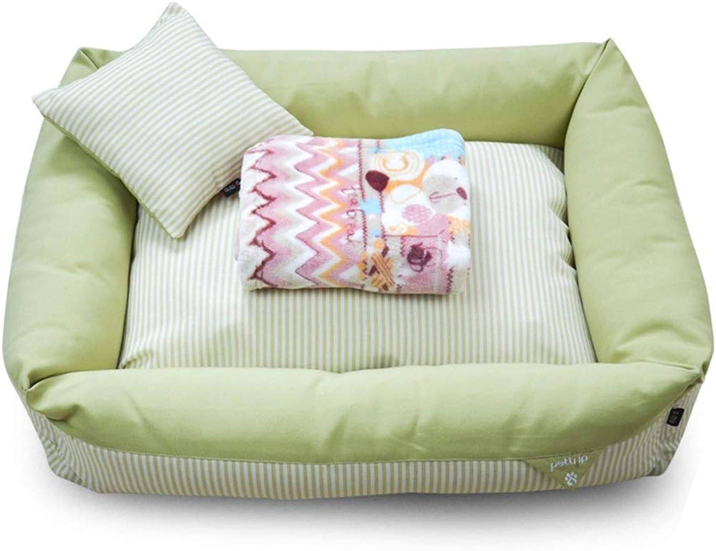 PLDDY pet bed Pet Mat, Large Dog Kennel Cat House Removable And Washable Pet Nest Wearresistant Bite Pet Bed (color   GREEN, Size   85×60×20cm)