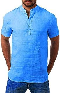 JIekyoi Moda Ocio Explosión Comodo Transpirable Algodón y Lino Camiseta de Manga Corta para Hombre Botón Camisas de Hombre...