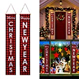 Christmas Porch Sign, Merry Christmas Happy New Year Red Buffalo Check Plaid Xmas Banners, Christmas Decorations for Holiday Home Indoor Outdoor Porch Wall Christmas Party