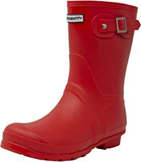 Exotic Identity Original Short Rain Boots, Waterproof, Premium PVC, Nonslip Sole, Garden or Muck Boot, Supportive and Lightweight, Adjustable Ankle Buckle