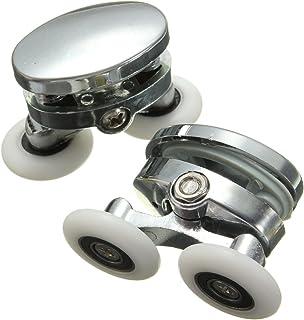dDanke 2 Twin Top Shower Door Rollers 304 Stainless Steel Micro-Bearing POM Bathroom Parts 25mm Diameter