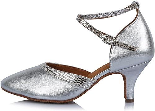 YFF Toe fermé Professionnel Chaussures de Danse Moderne de Bal Tango en Cuir