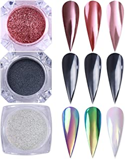 Born Pretty Nail Art Glitter Powder Set, Black Pearl Mirror Pigment Holographic Silver Neon Iridescent manicuring Powder 3 Boxes