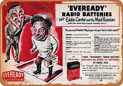 Kia Haop 1948 Eddie Cantor for Eveready Batteries Metall Blechschild Garage Cafe Garten Wohnzimmer Küche Plaque Art Poster Metallschild Wand Dekoration